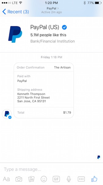 PayPal-facebook-messenger